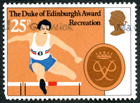 awarded: GREAT BRITAIN - CIRCA 1981: A used postage stamp from the UK, celebrating the Duke of Edinburgh Award, circa 1981.