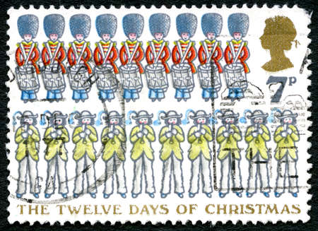 GREAT BRITAIN - CIRCA 1977: A used postage stamp from the UK, commemorating the Twelve Days of Christmas, circa 1977.