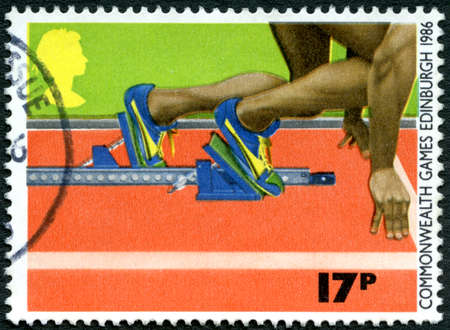 GREAT BRITAIN - CIRCA 1986: A used postage stamp from the UK, commemorating the 1986 Commonwealth Games held in Edinburgh, circa 1986. Editorial