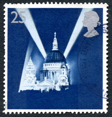 GREAT BRITAIN - CIRCA 1995: A used postage stamp from the UK, depicting an image of St. Pauls Cathedral in London during the Blitz in the Second World War, circa 1995.