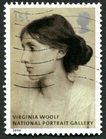 GREAT BRITAIN - CIRCA 2006: A used postage stamp from the UK, depicting a portrait of famous novelist Virginia Woolf which is on display in the National Portrait Gallery in London, circa 2006.