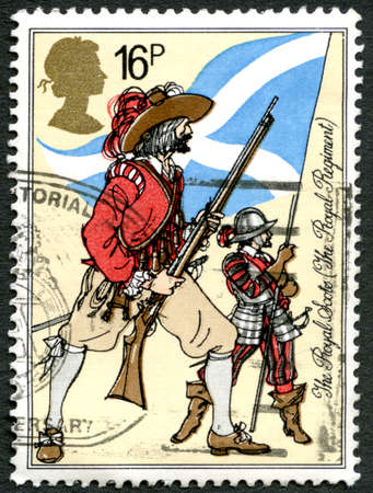 regiment: GREAT BRITAIN - CIRCA 1983: A used postage stamp from the UK, commemorating the Royal Scots army regiment, circa 1983.