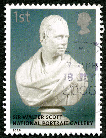 GREAT BRITAIN - CIRCA 2006: A used postage stamp from the UK, depicting an bust of novelist, playwright and poet Sir Walter Scott, circa 2006.