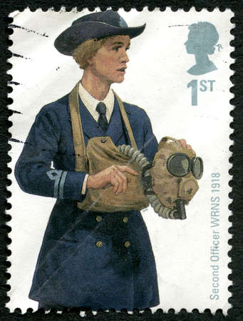 GREAT BRITAIN - CIRCA 2009: A used postage stamp from the UK, depicting an illustration of a Second Officer - a member of the Womens Royal Naval Service, circa 2009.