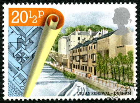 renewal: GREAT BRITAIN - CIRCA 1984: A used postage stamp from the UK, celebrating Urban Renewal in Durham, circa 1984.
