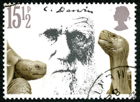 animal origin: GREAT BRITAIN - CIRCA 1982: A used postage stamp from the UK, depicting a portrait of Charles Darwin and Giant Tortoises, circa 1982.