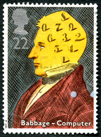 GREAT BRITAIN - CIRCA 1991 : A used postage stamp from the UK, commemorating the life of Charles Babbage - noted for originating the concept of a programmable computer, circa 1991. Editorial