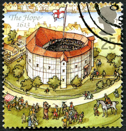 GREAT BRITAIN - CIRCA 1995: A used postage stamp from the UK, depicting an illustration of The Hope theatre in London in 1613, circa 1995.