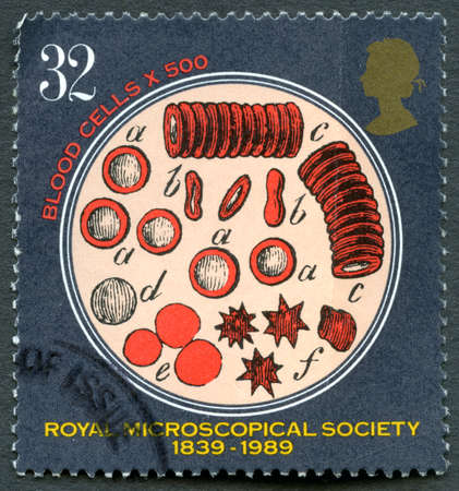 microscopical: GREAT BRITAIN - CIRCA 1989: A used postage stamp from the UK, commemorating the 150th Anniversary of the Royal Microscopical Society, circa 1989.