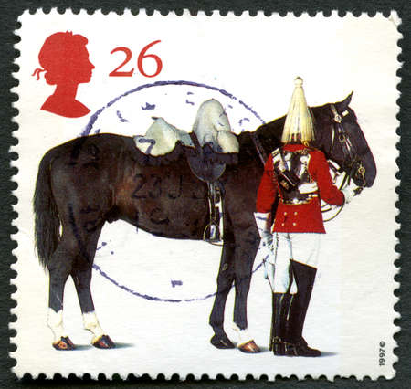 GREAT BRITAIN - CIRCA 1997: A used postage stamp from the UK, celebrating the horses that serve the Monarchy, circa 1997. Editorial