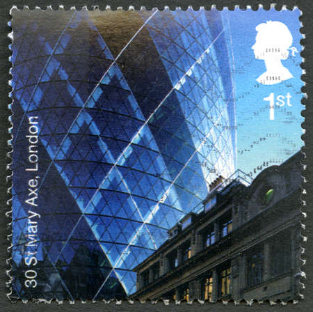 GREAT BRITAIN - CIRCA 2006: A used postage stamp from the UK, commemorating the modern architecture of 30 St. Mary Axe, also known as The Gherkin in London, circa 2006.