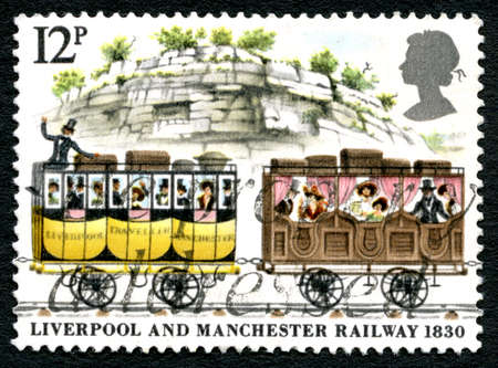 GREAT BRITAIN - CIRCA 1980: A used postage stamp from the UK, commemorating the Liverpool and Manchester Railway which opened in 1830, circa 1980.