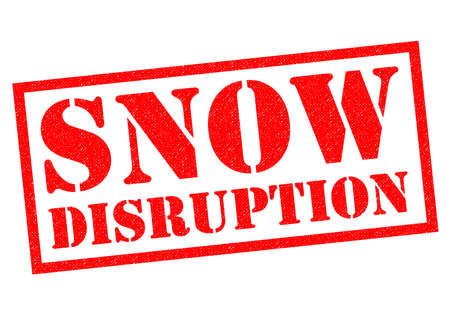 SNOW DISRUPTION red Rubber Stamp over a white background.