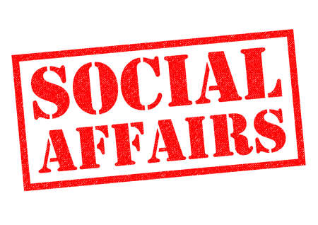 dept: SOCIAL AFFAIRS red Rubber Stamp over a white background.
