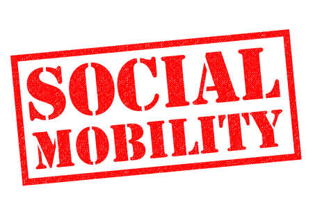 SOCIAL MOBILITY red Rubber Stamp over a white background.