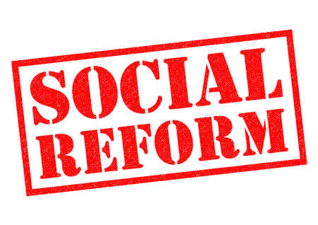 reforming: SOCIAL REFORM red Rubber Stamp over a white background.