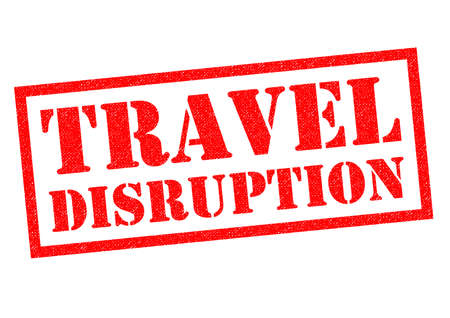 TRAVEL DISRUPTION red Rubber Stamp over a white background.