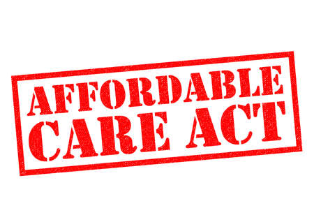 wite: AFFORDABLE CARE ACT red Rubber Stamp over  wite background. Stock Photo