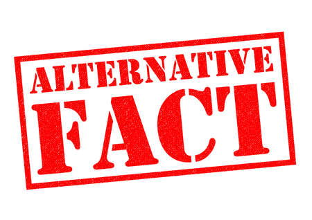 newsfeed: ALTERNATIVE FACT red Rubber Stamp over a white background.