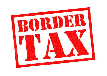 levied: BORDER TAX red Rubber Stamp over a white background. Stock Photo