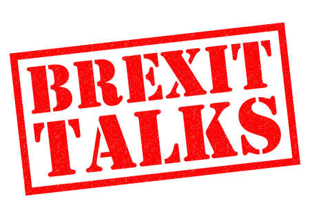 BREXIT TALKS red Rubber Stamp over a white background.