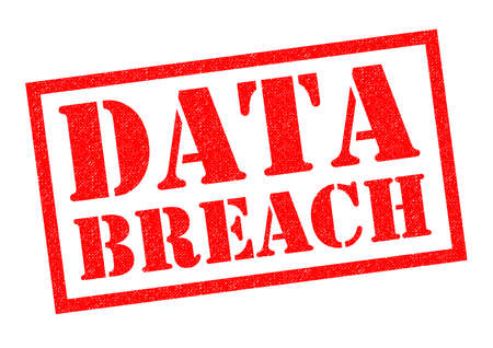 DATA BREACH red Rubber Stamp over a white background.