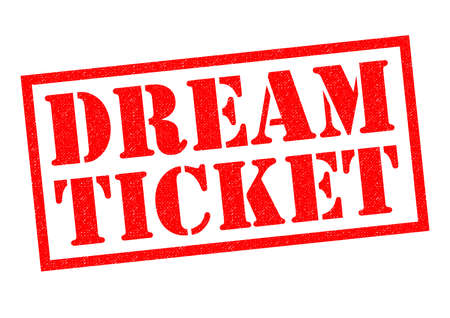 fab: DREAM TICKET red Rubber Stamp over a white background.