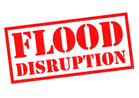 FLOOD DISRUPTION red Rubber Stamp over a white background.
