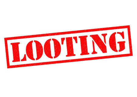 looting: LOOTING red Rubber Stamp over a white background.