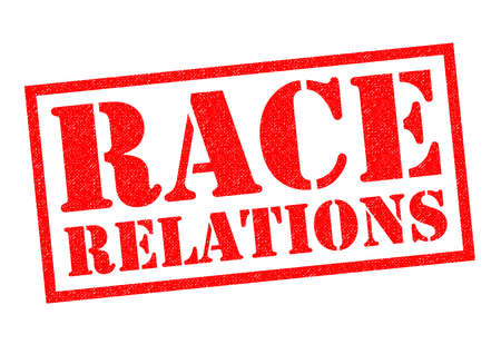 RACE RELATIONS red Rubber Stamp over a white background.