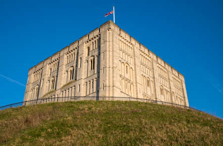 Looking up at the exterior of Norwich Castle in the historic city of Norwich, UK.