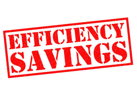 streamlined: EFFICIENCY SAVINGS red Rubber Stamp over a white background.