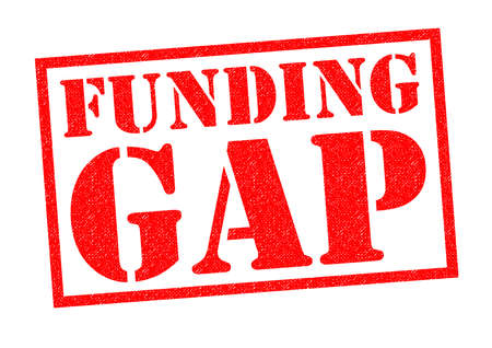budgets: FUNDING GAP red Rubber Stamp over a white background. Stock Photo