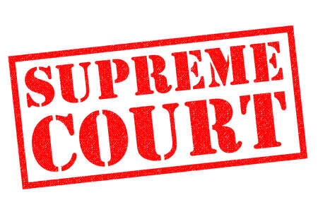 supreme court: SUPREME COURT red Rubber Stamp over a white background. Stock Photo