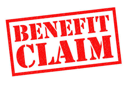 low income housing: BENEFIT CLAIM red Rubber Stamp over a white background.
