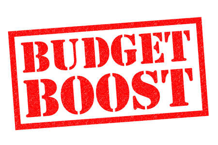 BUDGET BOOST red Rubber Stamp over a white background. Stock Photo