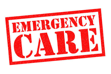 critical conditions: EMERGENCY CARE red Rubber Stamp over a white background. Stock Photo