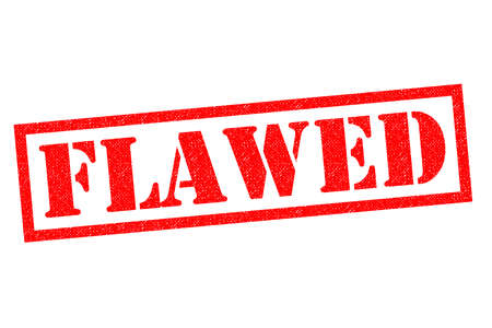 FLAWED red Rubber Stamp over a white background.