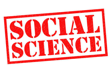 SOCIAL SCIENCE red Rubber Stamp over a white background. Stock Photo