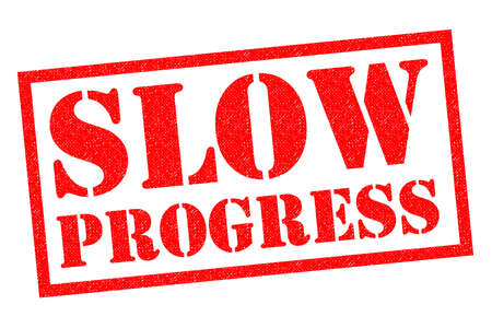 SLOW PROGRESS red Rubber Stamp over a white background.