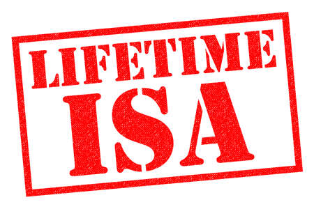 LIFETIME ISA red Rubber Stamp over a white background. Banco de Imagens