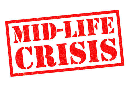 distressing: MID-LIFE CRISIS red Rubber Stamp over a white background.