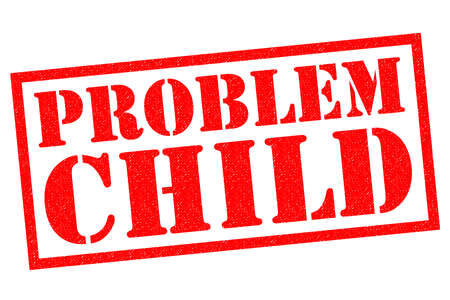 PROBLEM CHILD red Rubber Stamp over a white background.