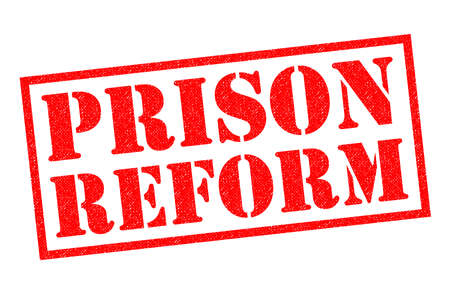 incarcerated: PRISON REFORM red Rubber Stamp over a white background.