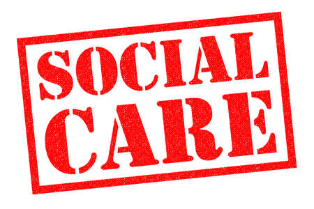 SOCIAL CARE red Rubber Stamp over a white background.