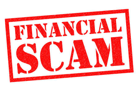 conman: FINANCIAL SCAM red Rubber Stamp over a white background.
