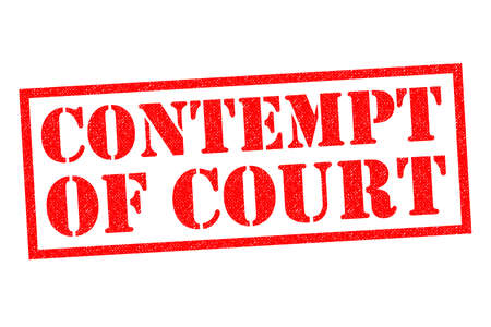 breaking law: CONTEMPT OF COURT red Rubber Stamp over a white background.