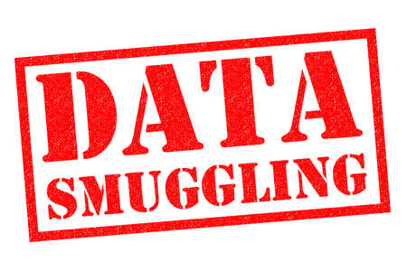 DATA SMUGGLING red Rubber Stamp over a white background.