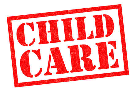 CHILD CARE red Rubber Stamp over a white background. Stock Photo
