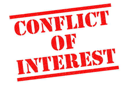 CONFLICT OF INTEREST red Rubber Stamp over a white background.